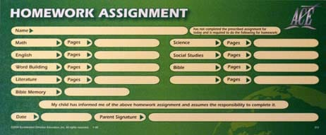 Homework Assignment Sheet from Accelerated Christian Education