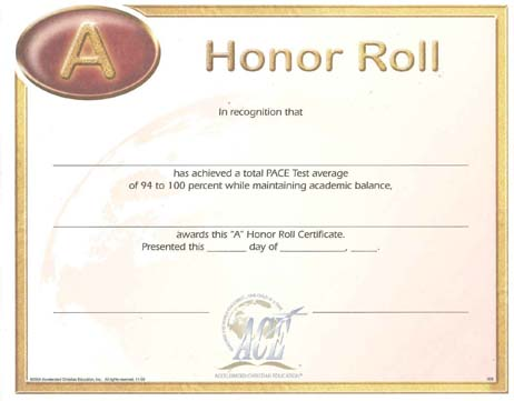 """Honor Roll Certificate """"A"""" 94-100 from Accelerated Christian Education"""