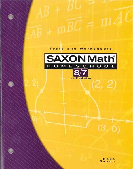 Math 8/7 Homeschool Testing Book 3rd Edition from Saxon Math
