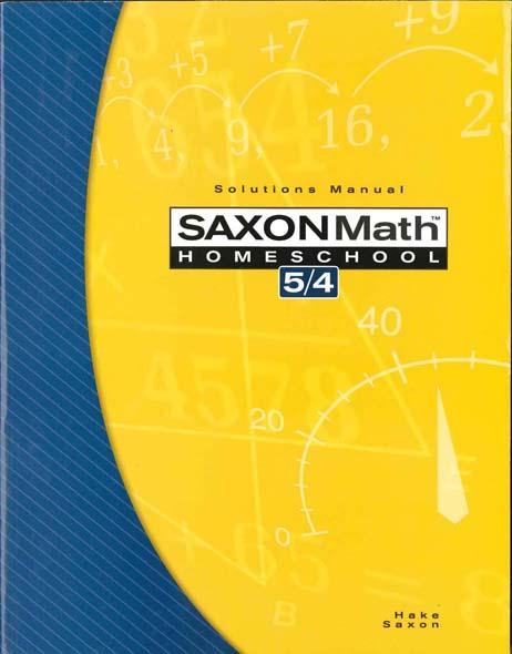 Math 5/4 Homeschool Solution Manual 3rd Edition from Saxon Math